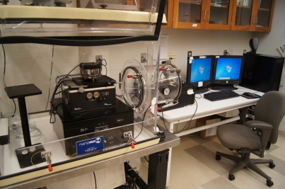 Asylum Research MFP 3-D Atomic Force Microscope for high resolution AFM imaging and surface force measurements. The instrument is equipped for Dynamic Shear Force Microscopy, a high resolution, high contrast imaging mode developed in the Zauscher laboratory.